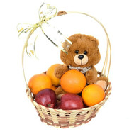 Fruit basket and bear - flowers and bouquets on roza.ck.ua