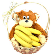 Basket with bananas and monkey - flowers and bouquets on roza.ck.ua