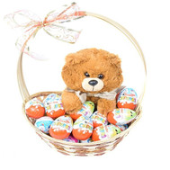 Basket with Kinder Surprise and Bear - flowers and bouquets on roza.ck.ua