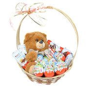 """Basket with Kinders and Teddy Bear"" in the online flower shop roza.ck.ua"