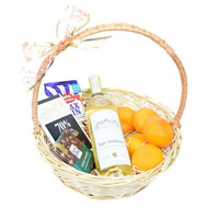Подарочная корзина с белым вином - цветы и букеты на roza.ck.ua