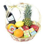 """Gift basket with fruit, wine and cheese"" in the online flower shop roza.ck.ua"
