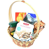 Подарочная корзина с печеньем и чаем - цветы и букеты на roza.ck.ua