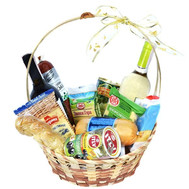 Gift basket with cheese, olives and wine - flowers and bouquets on roza.ck.ua