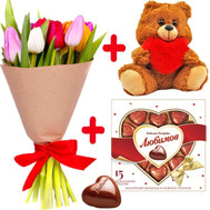 """11 tulips, teddy bear and candy"" in the online flower shop roza.ck.ua"
