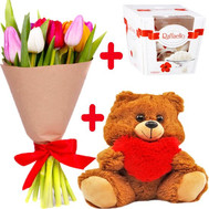 """11 tulips with Raffaello and teddy bear"" in the online flower shop roza.ck.ua"
