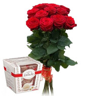 11 roses and rafaello - flowers and bouquets on roza.ck.ua