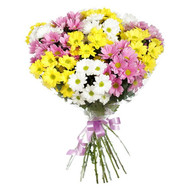 11 multi-colored chrysanthemums - flowers and bouquets on roza.ck.ua