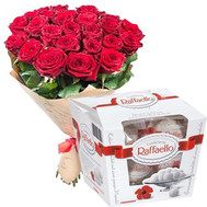 25 roses and rafaello - flowers and bouquets on roza.ck.ua