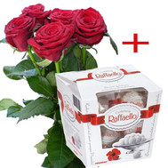 5 roses and Raffaello - flowers and bouquets on roza.ck.ua
