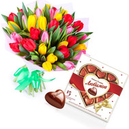 Bouquet of tulips and candies - flowers and bouquets on roza.ck.ua