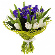"""Bouquet of irises and tulips"" in the online flower shop roza.ck.ua"