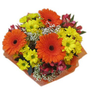 Bouquet of chrysanthemums, alstromeries and gerberas - flowers and bouquets on roza.ck.ua