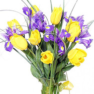 Bouquet of irises and tulips - flowers and bouquets on roza.ck.ua