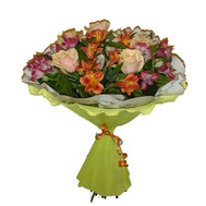 Bouquet of roses and alstroemerias - flowers and bouquets on roza.ck.ua