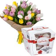 Букет тюльпанов и конфеты - цветы и букеты на roza.ck.ua