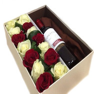 A box of flowers with a gift - flowers and bouquets on roza.ck.ua