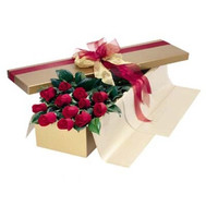 Red roses in a box - flowers and bouquets on roza.ck.ua