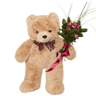 Bear and bouquet of roses - flowers and bouquets on roza.ck.ua