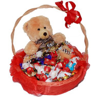 Gift basket of chocolates and teddy bear - flowers and bouquets on roza.ck.ua