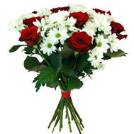 """A beautiful bouquet of roses and chrysanthemums"" in the online flower shop roza.ck.ua"