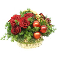 """Christmas basket with flowers"" in the online flower shop roza.ck.ua"