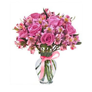 """Pink bouquet of roses and alstromeries"" in the online flower shop roza.ck.ua"