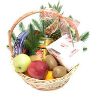 Подарочная новогодняя корзина - цветы и букеты на roza.ck.ua