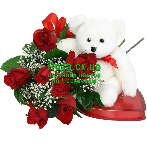 Bouquet, teddy bear and candy buy, send flowers to Cherkassy - Roza ...