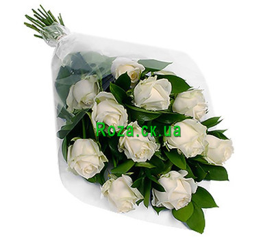 """Cascade bouquet of white roses"" in the online flower shop roza.ck.ua"