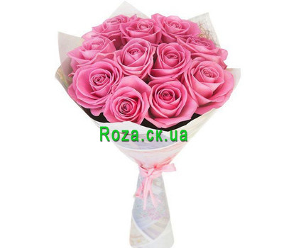 """11 pink roses in paper"" in the online flower shop roza.ck.ua"