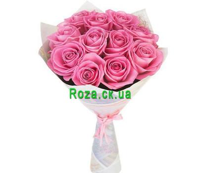 """""""11 розовых роз в бумаге"""" в интернет-магазине цветов roza.ck.ua"""