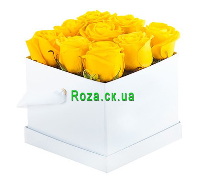 """9 yellow roses in a square box"" in the online flower shop roza.ck.ua"
