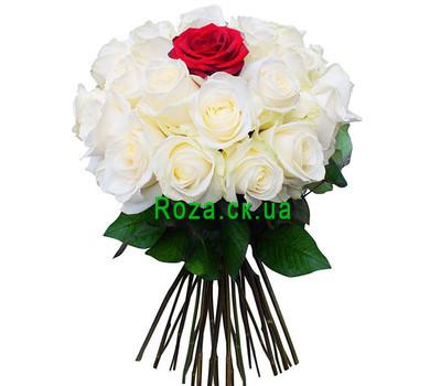 """""""Букет из белых роз и одной красной"""" в интернет-магазине цветов roza.ck.ua"""