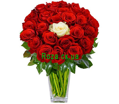"""Bouquet of red roses and one white"" in the online flower shop roza.ck.ua"