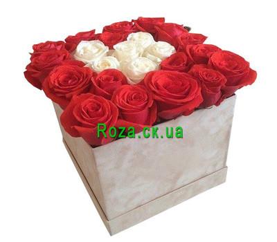 """""""Красные и белые розы в коробке"""" в интернет-магазине цветов roza.ck.ua"""