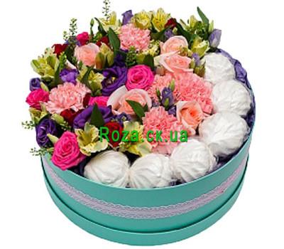"""""""Круглая коробка с цветами и зефиром"""" в интернет-магазине цветов roza.ck.ua"""