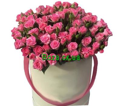"""""""Розовые кустовые розы в коробке"""" в интернет-магазине цветов roza.ck.ua"""