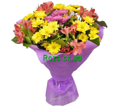 """Merry bouquet of chrysanthemums and alstromeries"" in the online flower shop roza.ck.ua"