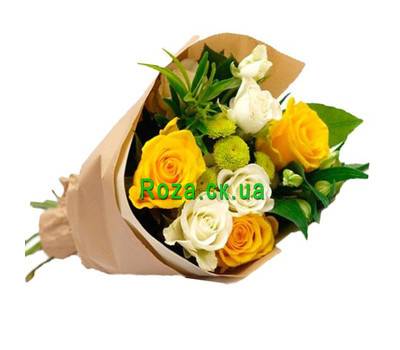 """Merry bouquet of roses and chrysanthemums"" in the online flower shop roza.ck.ua"