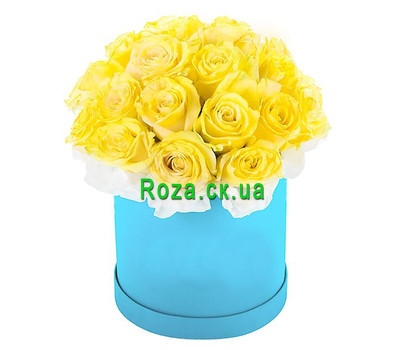 """Yellow roses in a round box"" in the online flower shop roza.ck.ua"