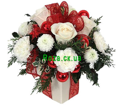 """Box of flowers for the New Year"" in the online flower shop roza.ck.ua"