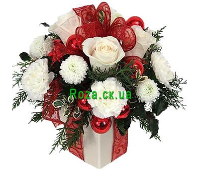 """""""Коробка с цветами на Новый год"""" в интернет-магазине цветов roza.ck.ua"""