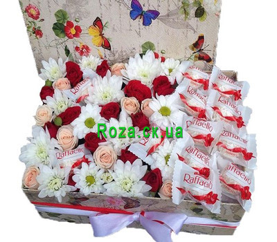 """Delicate box of flowers with rafaello"" in the online flower shop roza.ck.ua"