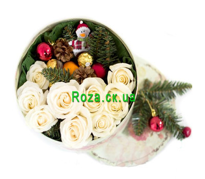 """New Year's bouquet in a round box"" in the online flower shop roza.ck.ua"