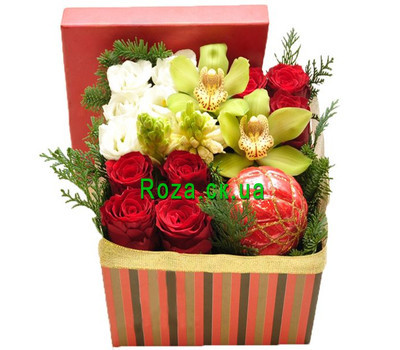 """Christmas box with orchid"" in the online flower shop roza.ck.ua"