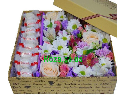 """A lovely box of flowers with sweets"" in the online flower shop roza.ck.ua"