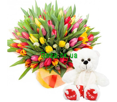 """101 tulip and white bear"" in the online flower shop roza.ck.ua"