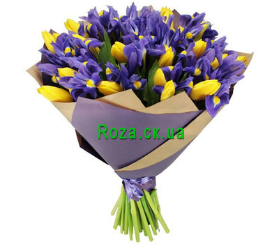 """""""101 tulip and iris"""" in the online flower shop roza.ck.ua"""