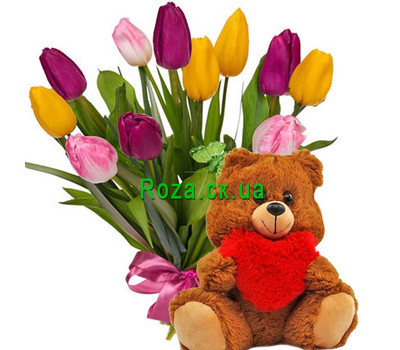"""11 tulips and a bear"" in the online flower shop roza.ck.ua"